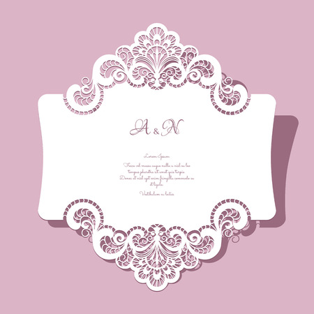 Elegant lace greeting card, wedding invitation or announcement template Imagens - 43127970