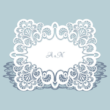 vintage lace: Cutout paper lace frame, lacy doily, greeting card or wedding invitation template