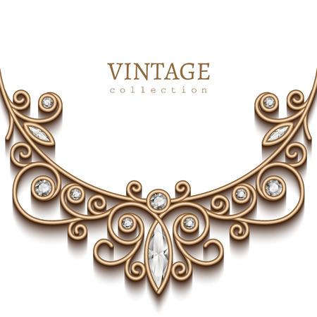 diamantina: Fondo de la vendimia con la ilustraci�n de oro sobre fondo blanco, la decoraci�n de la joyer�a, collar de diamantes de filigrana, tarjeta de felicitaci�n elegante o plantilla de la invitaci�n