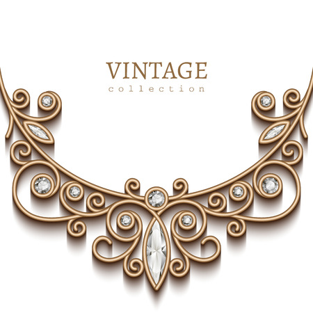 diamond necklace: Vintage background with gold vignette on white background, jewellery decoration, filigree diamond necklace, elegant greeting card or invitation template Illustration