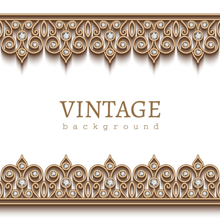 Vintage gold frame with jewelry borders on white background