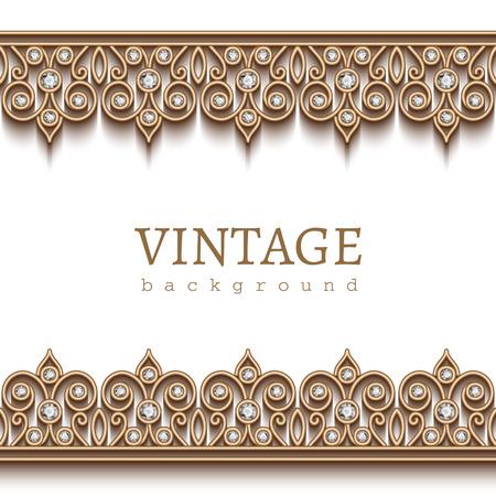 Vintage gouden frame met sieraden randen op een witte achtergrond Stock Illustratie
