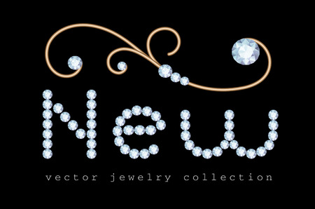 New offer banner with diamond jewelry letters and gold jewellery swirly decoration on black Illusztráció