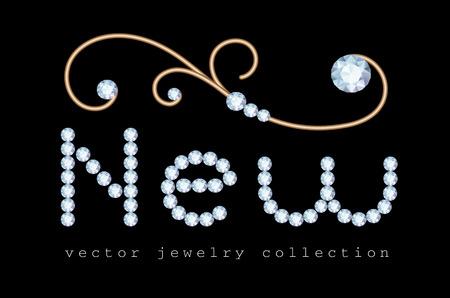 Nieuwe aanbieding banner met diamanten sieraden brieven en edelsmederij swirly decoratie op zwart Stock Illustratie