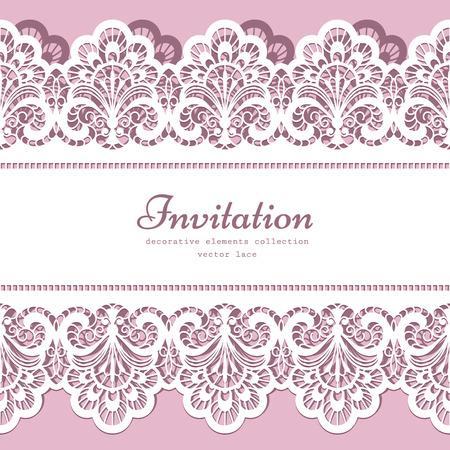 Encaje de fondo con el ornamento frontera de encaje recorte, tarjeta de felicitación elegante o plantilla de invitación de boda Foto de archivo - 43128088
