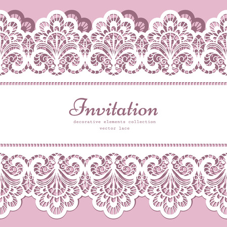 Lace background with cutout lacy border ornament, elegant greeting card or wedding invitation template