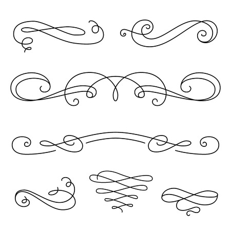 Viñetas Vintage, plantilla de decoración de la página, un conjunto de elementos caligráficos decorativos de diseño en estilo retro, vector de desplazamiento adornos en blanco