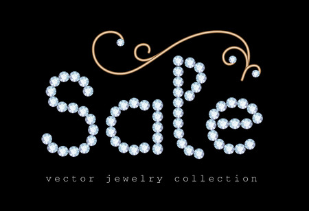 diamond letters: Sale banner with diamond jewelry letters and gold jewellery swirly decoration on black