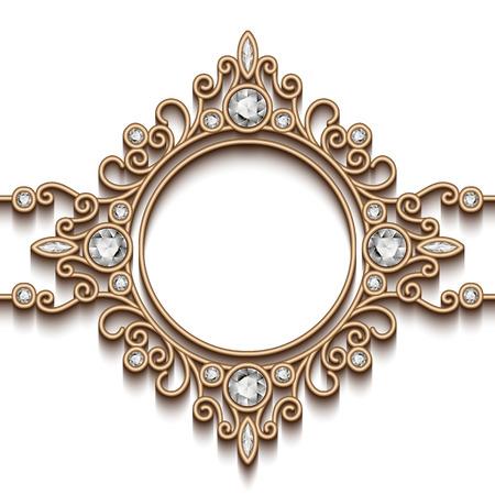 Vintage gold background, diamond vignette, swirly jewelry frame