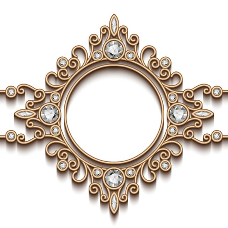 swirly: Vintage gold background, diamond vignette, swirly jewelry frame