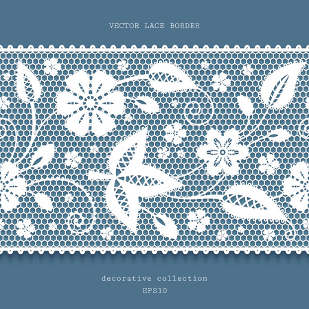 vector fabric: Floral lace background with white lacy border ornament