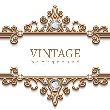 bordes decorativos: Marco de oro de la vendimia en blanco, divisor, cabecera, fondo de la joyer�a decorativa Vectores
