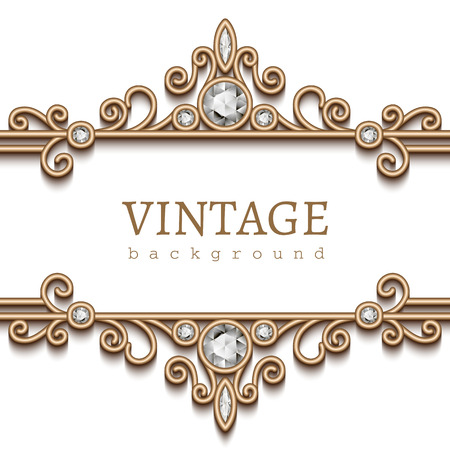 page: Vintage gold frame on white, divider, header, decorative jewelry background