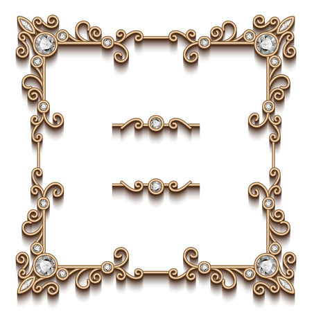 antique jewelry: Vintage gold square jewelry frame on white background