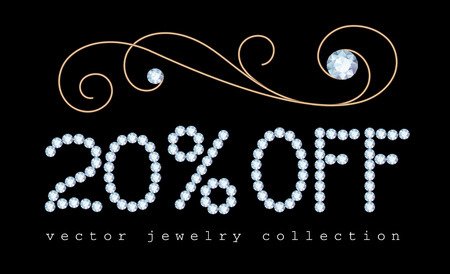 diamond letters: 20 percent off, sale banner with diamond jewelry letters and gold jewellery vignette decoration on black