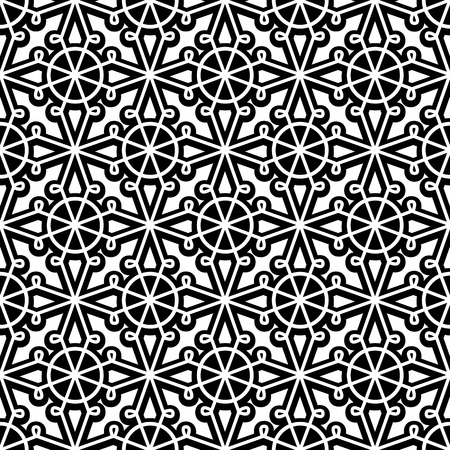 guipure: Abstract black and white ornament, lace texture, seamless pattern Illustration
