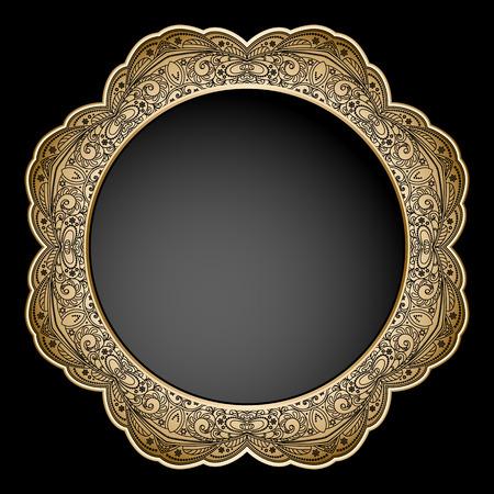 gold circle: Vintage gold ornamental circle frame on black background Illustration