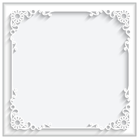 Abstract square lace frame with paper swirls, ornamental corners, white decorative background