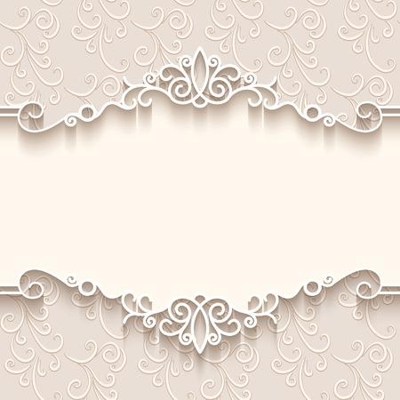 düğün: Kağıt sınır dekorasyon, bölücü, başlık, süs çerçeve şablonu ile Vintage background