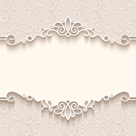 wedding invitation card: Vintage background with paper border decoration, divider, header, ornamental frame template Illustration
