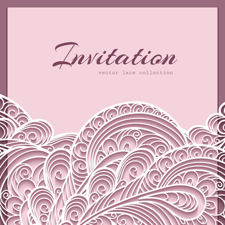 Elegant lace greeting card, wedding invitation or announcement template Imagens - 43130362