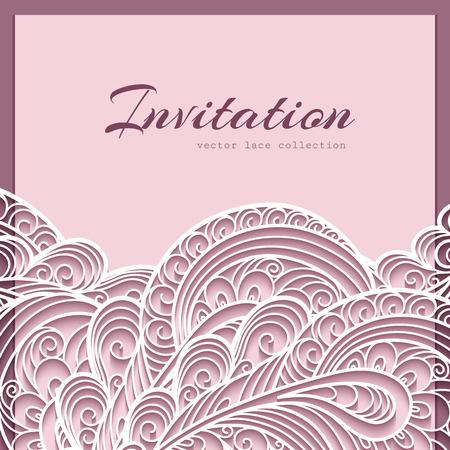 Elegante pizzo biglietto di auguri, invito a nozze o Modello per l'annuncio Archivio Fotografico - 43130362