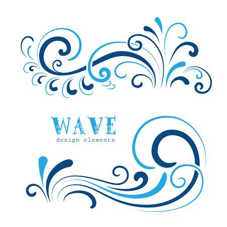 Wave icons, wavy shapes, decorative swirls on white