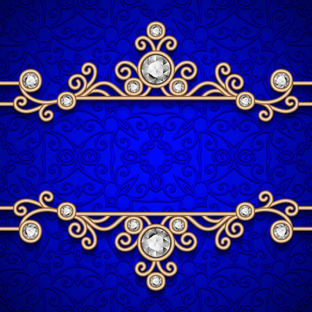 Vintage gold frame, ornamental jewelry background Stock Illustratie