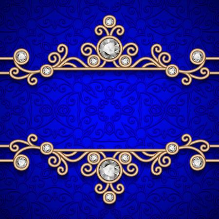 vintage gold frame: Vintage gold frame, ornamental jewelry background Illustration