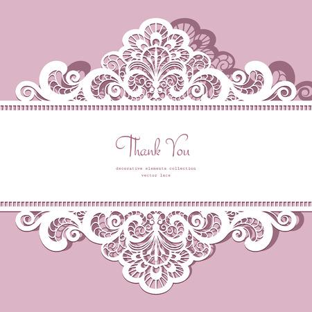 Elegant ornate lace frame, greeting card or invitation template Illustration
