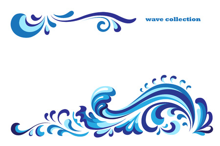 Ornamental blue wave, curly decoration on white