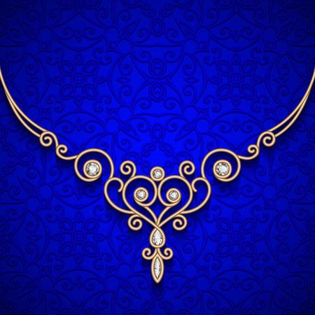eleganz: Weinlese-Gold Halskette, Schmuck Diamantdekoration
