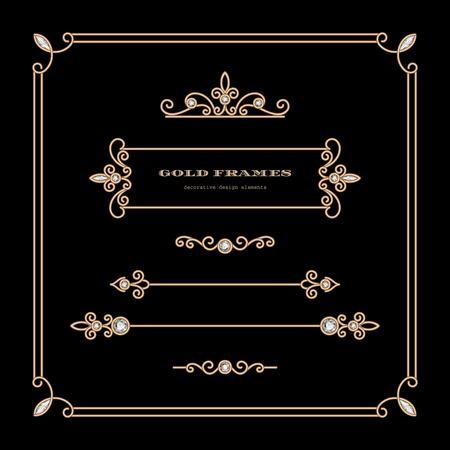 Vintage gold vignettes and dividers in square frame, set of decorative design elements