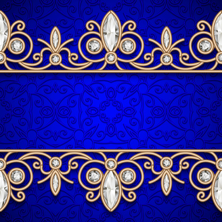 Vintage gold background, jewelry frame with seamless borders Illustration