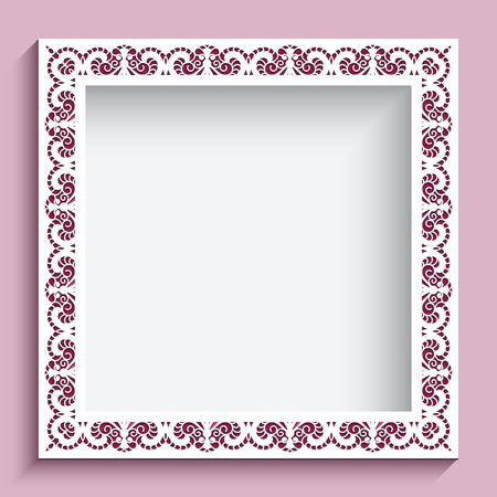 lace background: Square frame with paper swirls, ornamental lace background