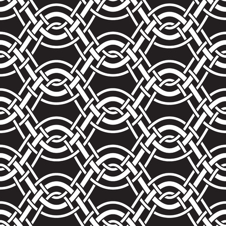 interlaced: Abstract interlaced wavy lines, seamless pattern, black and white background
