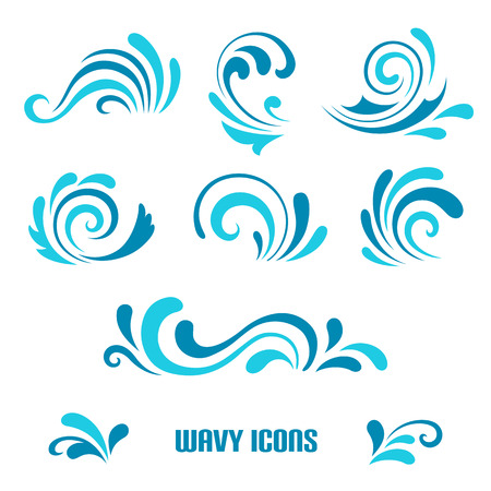 blue wave: Wave icons, set of decorative curly shapes isolated on white