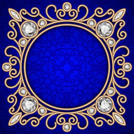 Vintage gold background, ornate jewelry frame over blue pattern 矢量图像