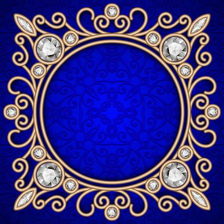 Vintage gold background, ornate jewelry frame over blue pattern Stock Illustratie