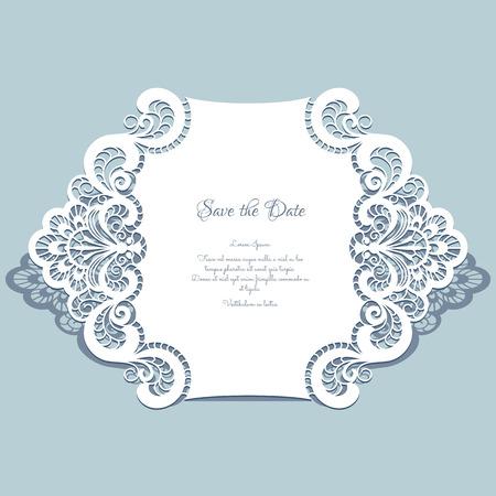 컷 아웃 종이 레이스 프레임, 인사말 카드, 날짜 또는 결혼식 초대장 템플릿을 저장 일러스트