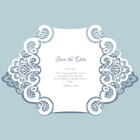 Cutout paper lace frame, greeting card, save the date or wedding invitation template Imagens - 43136322