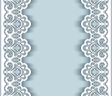 broderie: Elegant background avec des bordures de dentelle de papier découpé, carte de voeux ou modèle d'invitation de mariage Illustration