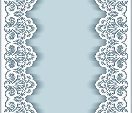 Elegant background with cutout paper lace borders, greeting card or wedding invitation template Vettoriali