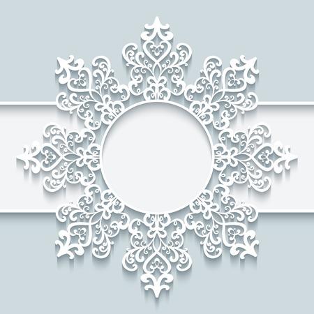 Sier frame met papieren wervelingen, ronde vignet, knipsel kanten sneeuwvlok