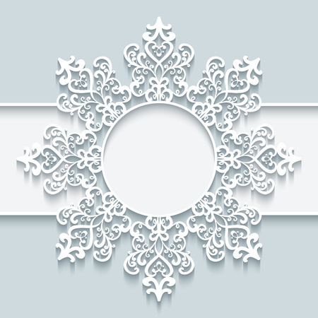 Ornamental frame with paper swirls, round vignette, cutout lacy snowflake