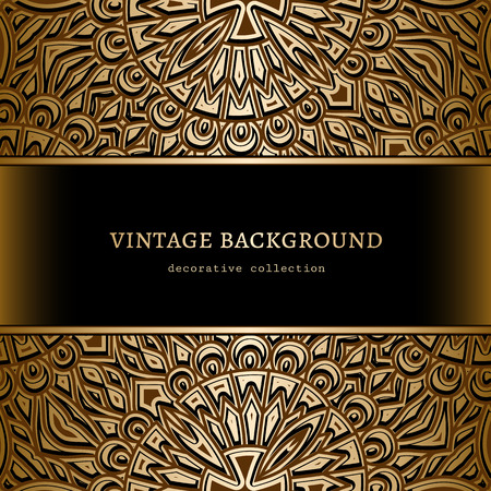 Vintage gold background, ornamental frame with golden borders Illustration