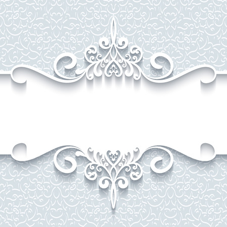 greetings card: Abstract background with paper divider, header, ornamental frame Illustration