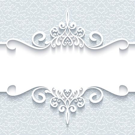 hochzeit: Abstrakter Hintergrund mit Papier Teiler, Kopfzeile, Zierrahmen