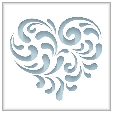 wedding heart: Cutout paper swirls in shape of heart Illustration