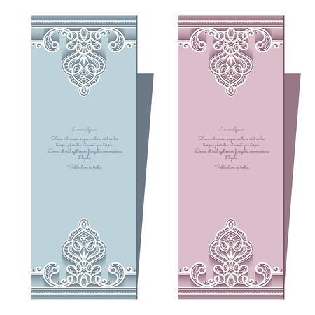 graphics design: Elegant lace cards, wedding invitation or announcement template